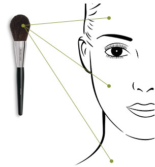 Blend loose and pressed powders with ease, starting in the T-zone and dusting outward to the edges of the face.